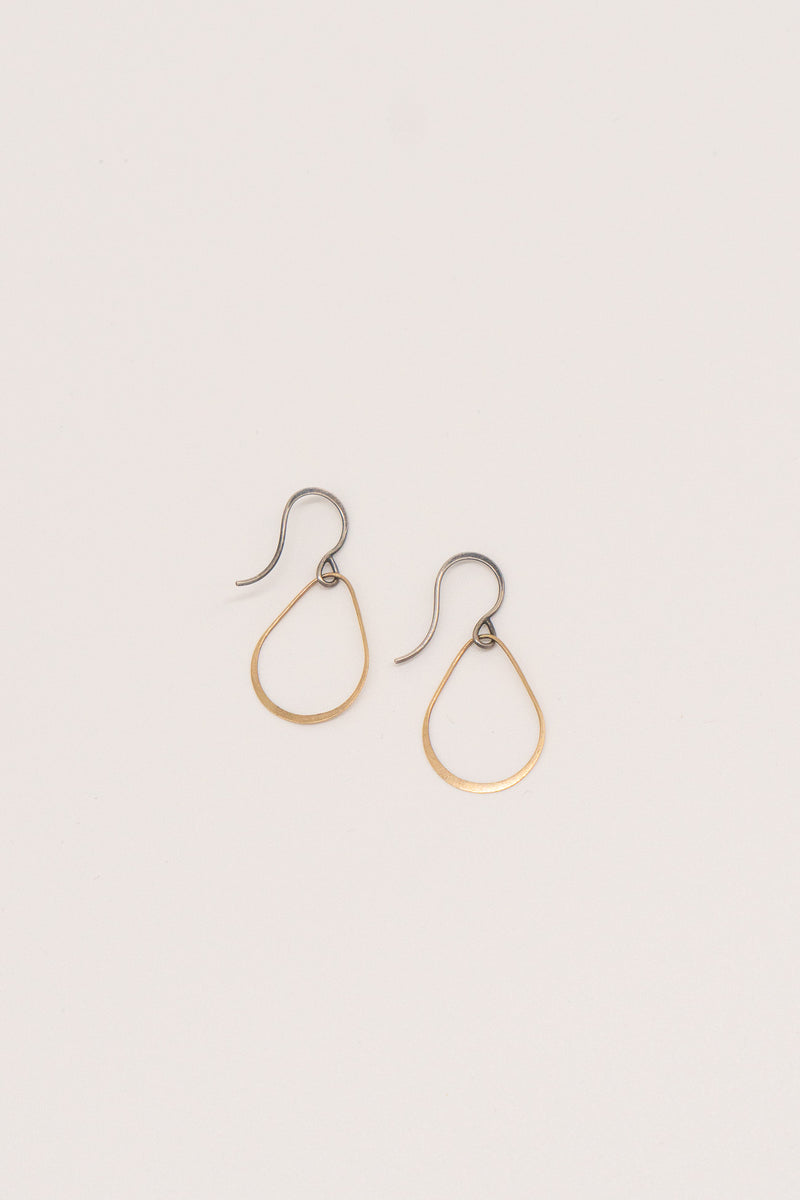 Melissa Joy Manning Mixed Gold Sterling Silver Teardrop Earrings