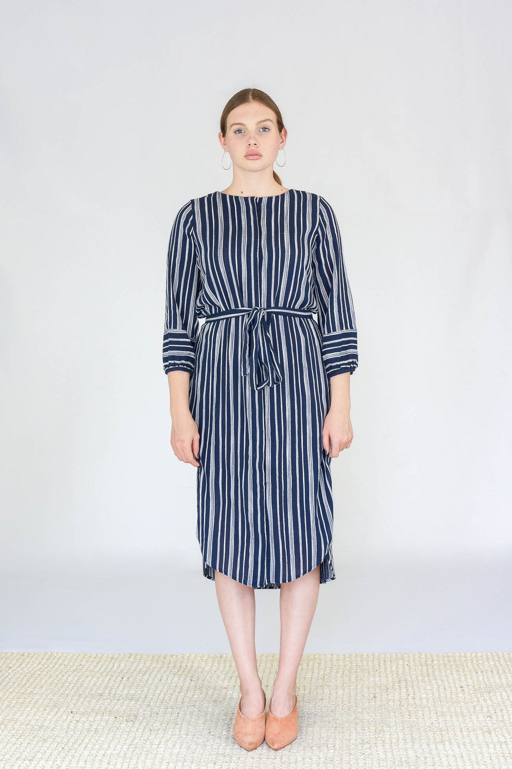 Trovata The Mira Faux Wrap Dress in Navy Stripe
