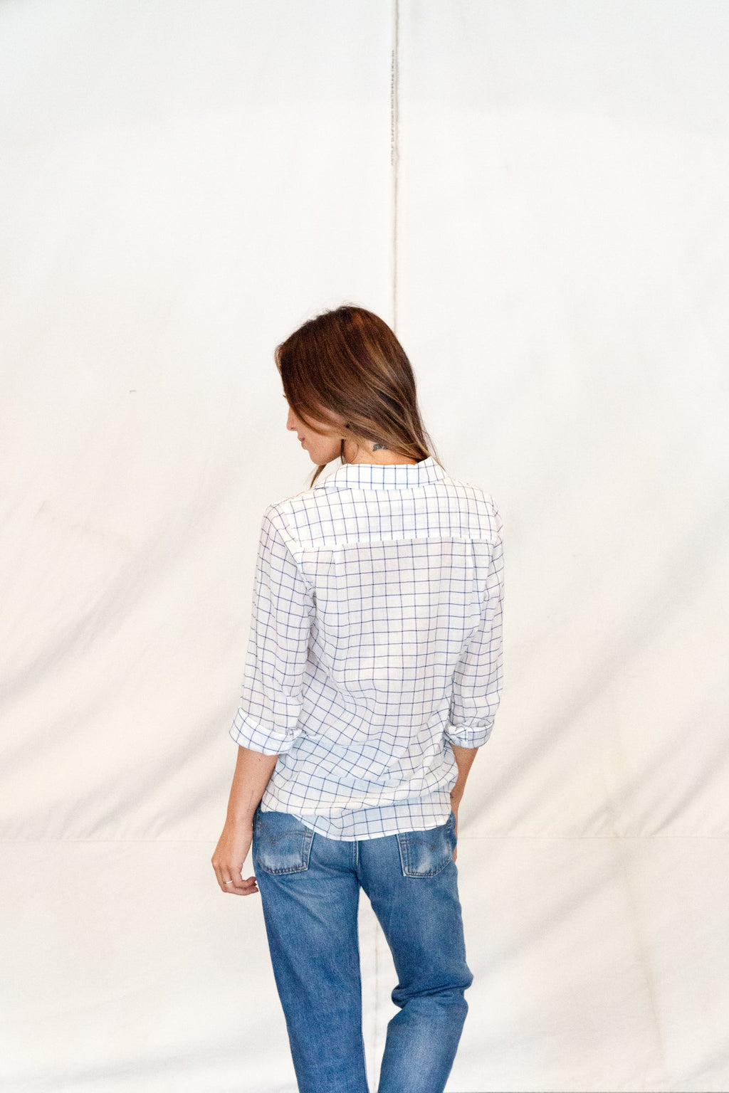 Trovata Grace Classic Shirt in White Windowpane