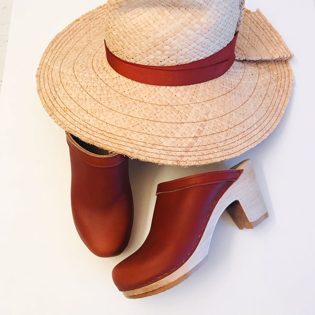 Lola Ehrlich Snap First Aid Raffia Hat in Rust