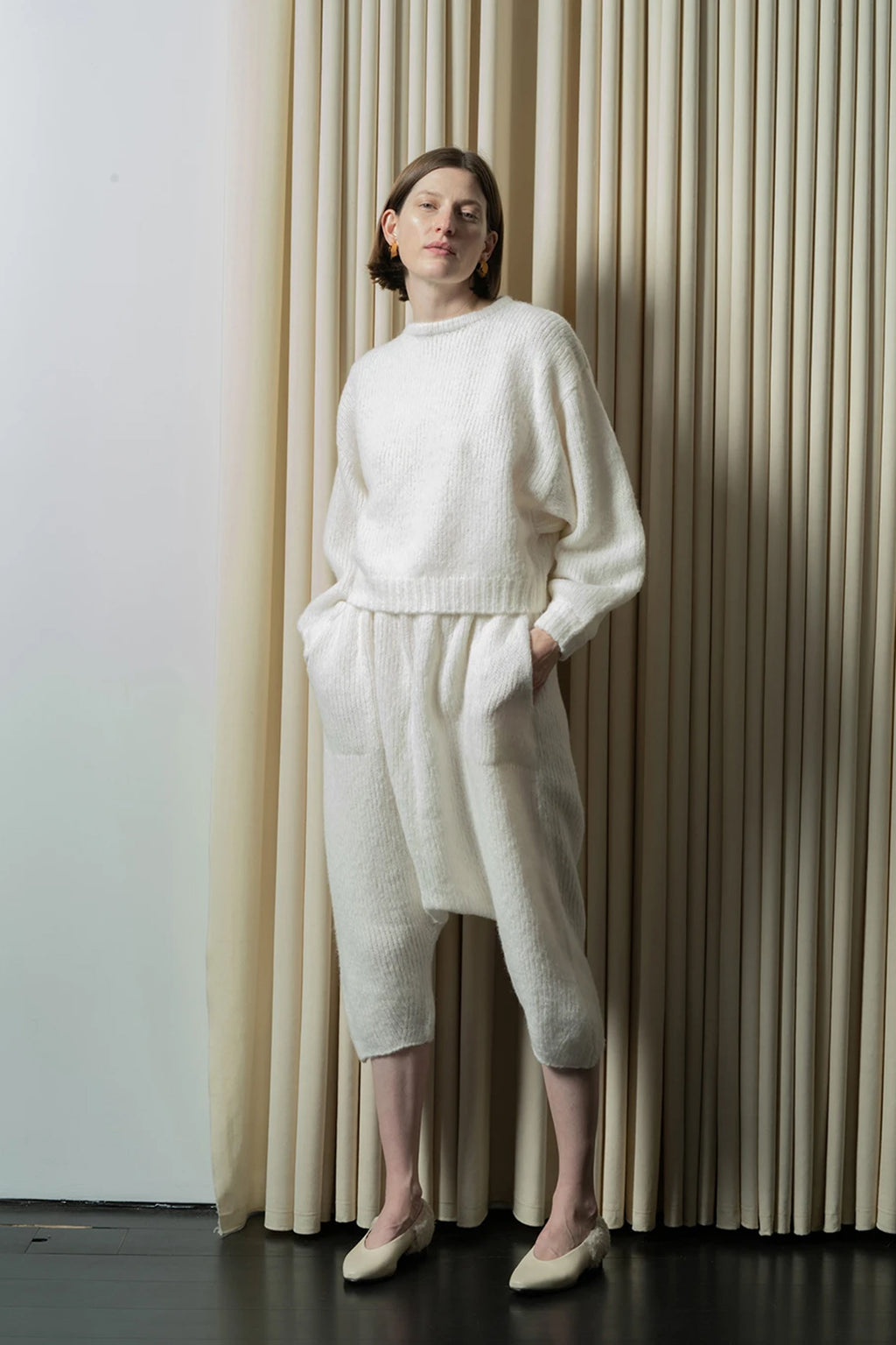 Atelier Delphine Balloon Sleeve Sweater in Cream