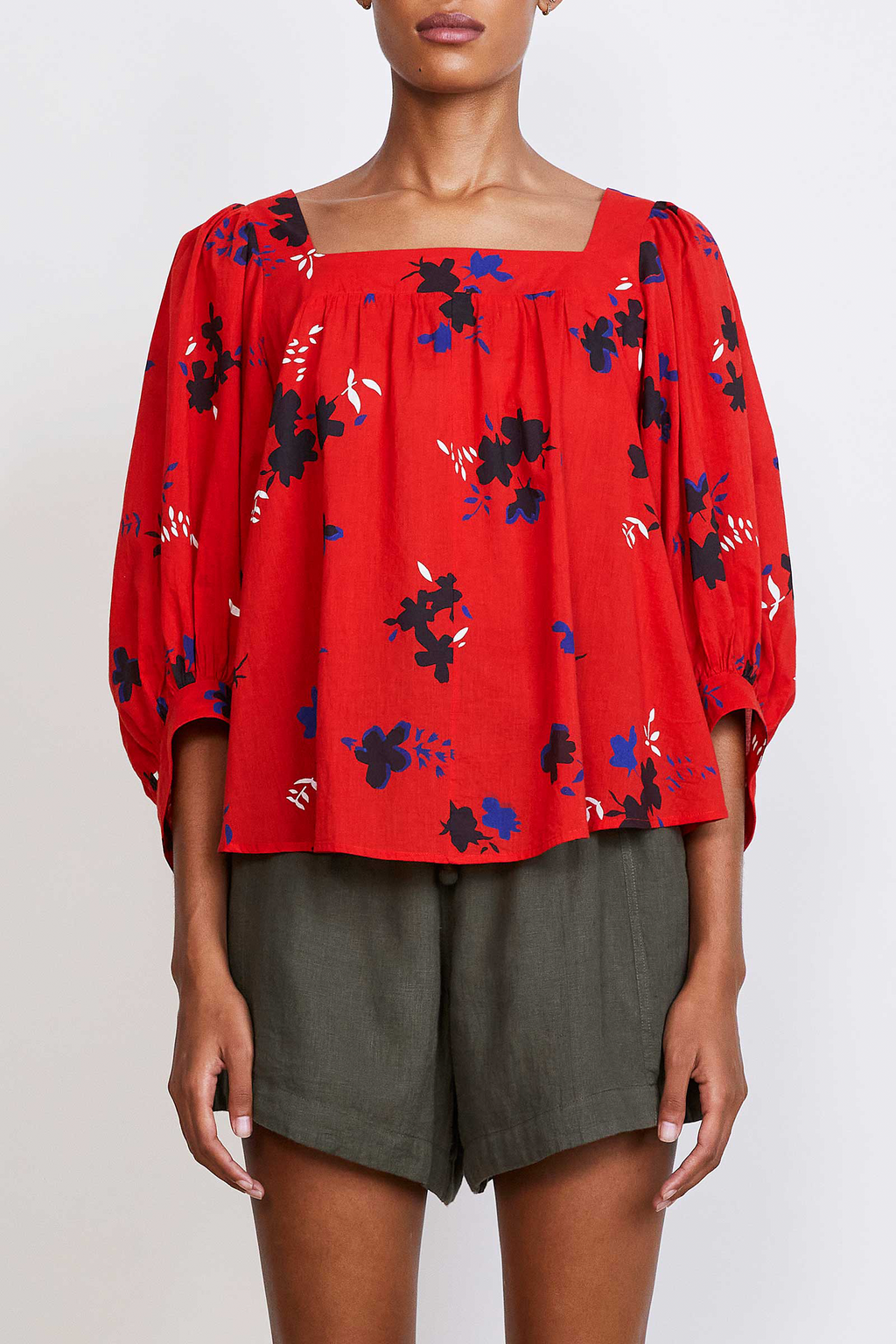 Apiece Apart Zinnia Top in Red Aster Floral