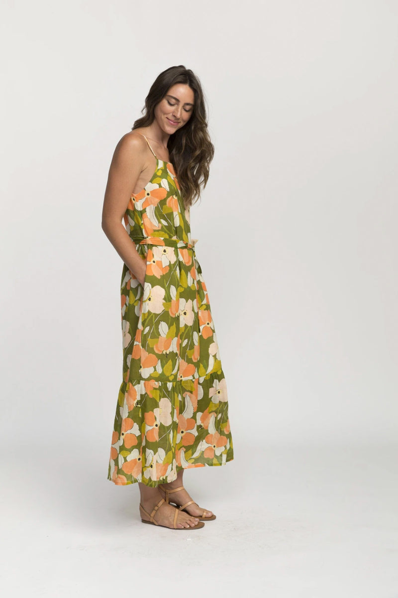 Trovata Cecile Squareneck Maxi Dress in Green Floral