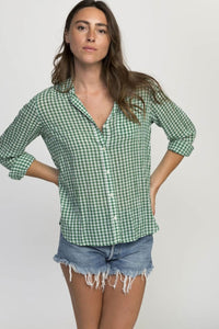 Trovato Grace Poplin Classic Shirt in Green Gingham
