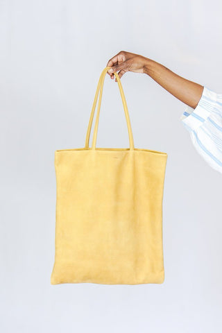 BAGGU Flat Tote Leather Bag in Black or Honey