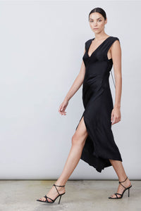 Allen Schwartz Desiree Deep V-Neck Dress in Black