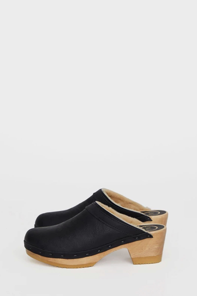No.6 Dakota Shearling Clog on Mid Heel In Ink Aviator