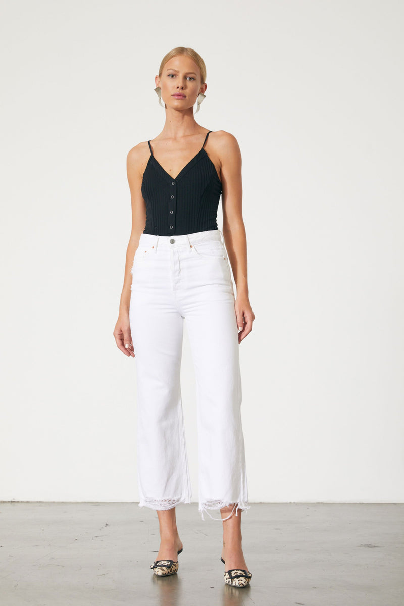 GRLFRND Bobbi High Rise Cropped Denim in White Waves