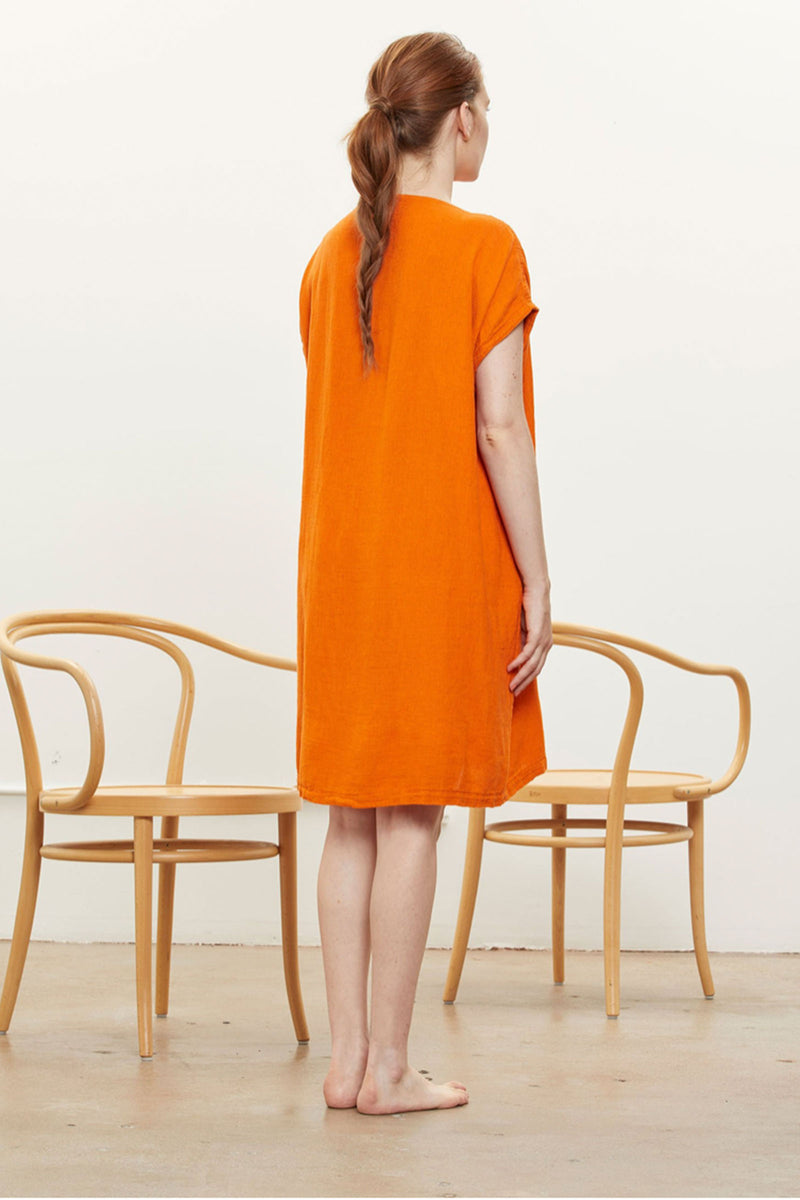 Black Crane Box Dress In Orange