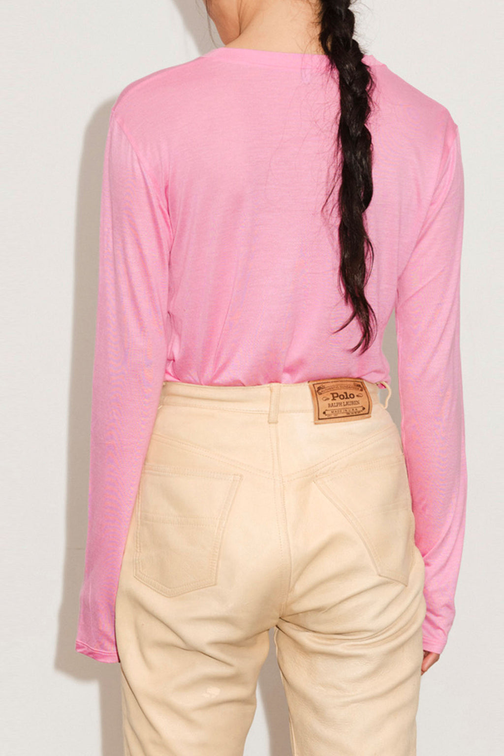 Base Range Long Sleeve Tee-Bamboo Jersey In Hane Pink