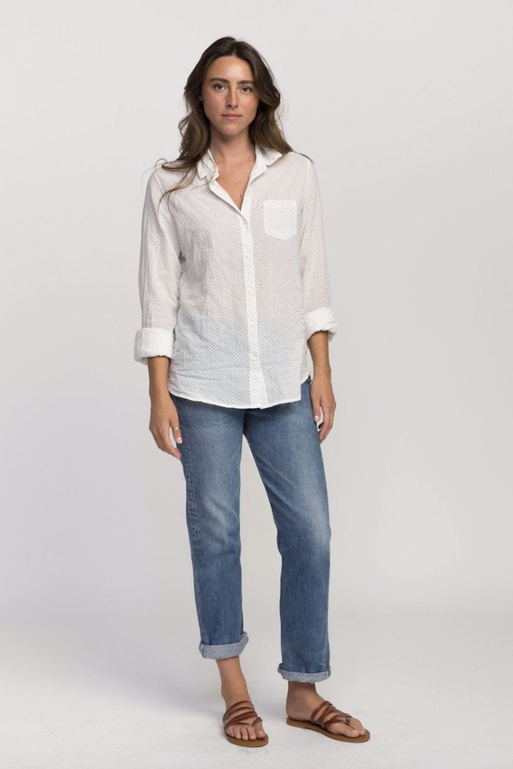 Trovato Grace Poplin Classic Shirt in Micro Dot