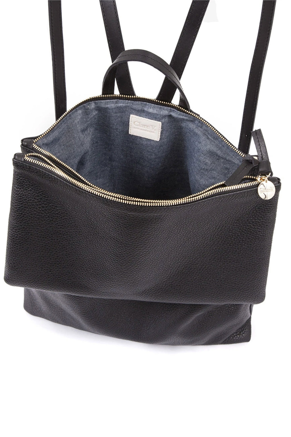 Clare Vivier Black Leather Gravel Agnes BackPack