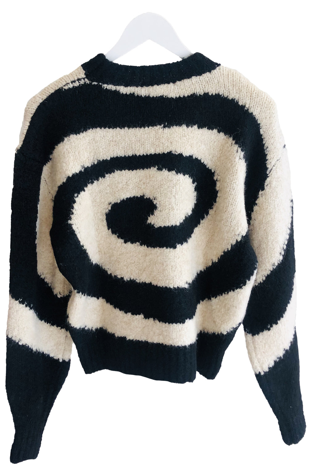 Paloma Wool Twister Fitted Sweater With Swirl in BLack And White