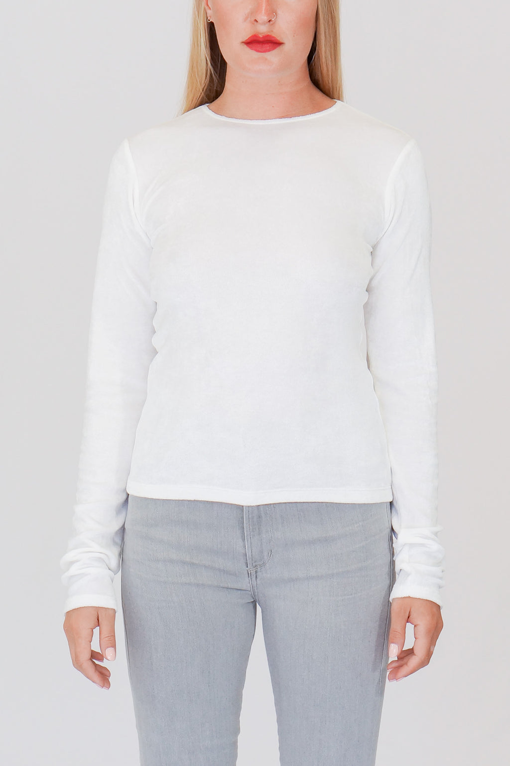 Base Range Omo Long Sleeve Shiny Velour Tee in White