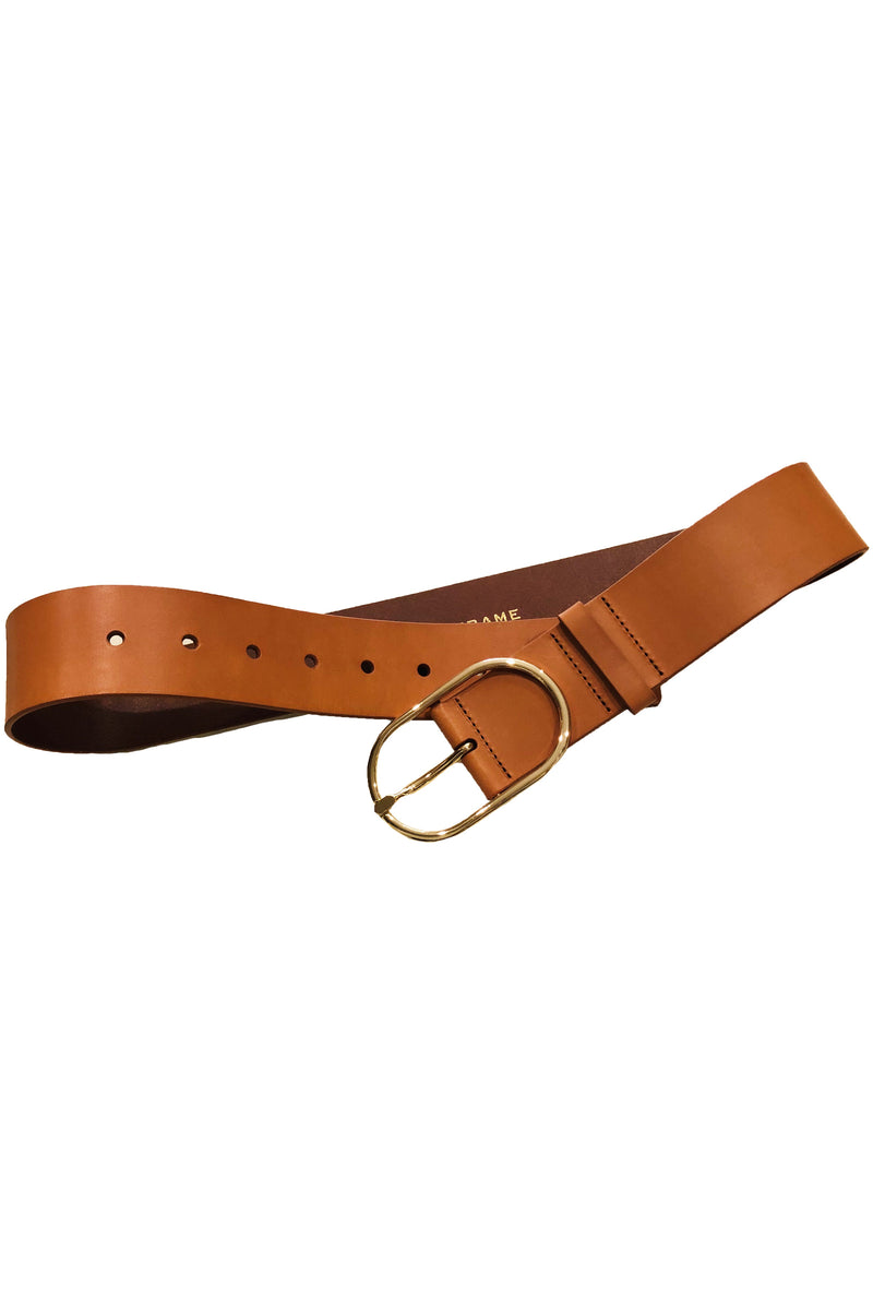 Frame Grand Oval Buckle Belt in Natural