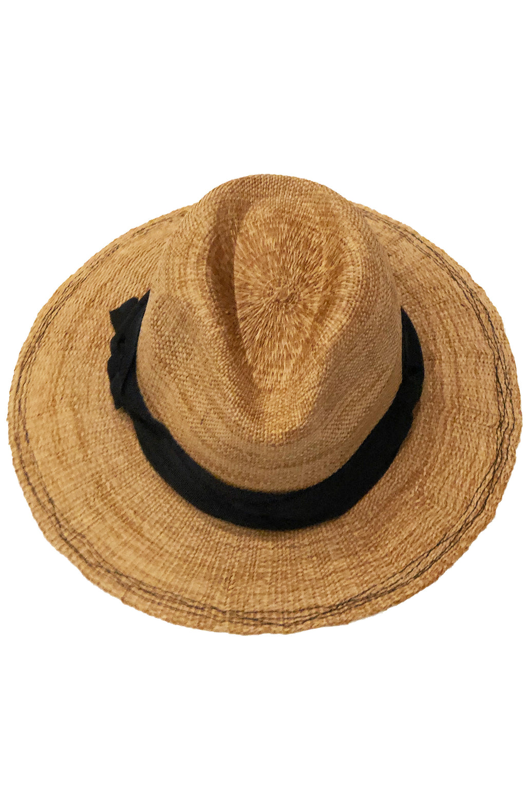 Lola Ehrlich Rise and Shine Straw Hat in Tabacco with Black Ribbon