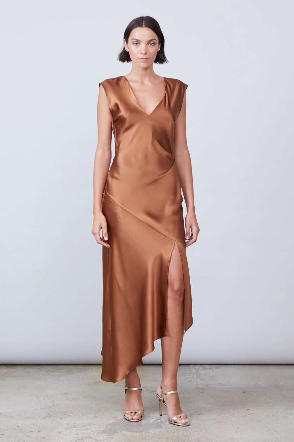 Allen Schwartz Desiree Deep V Silk Dress in Bronze