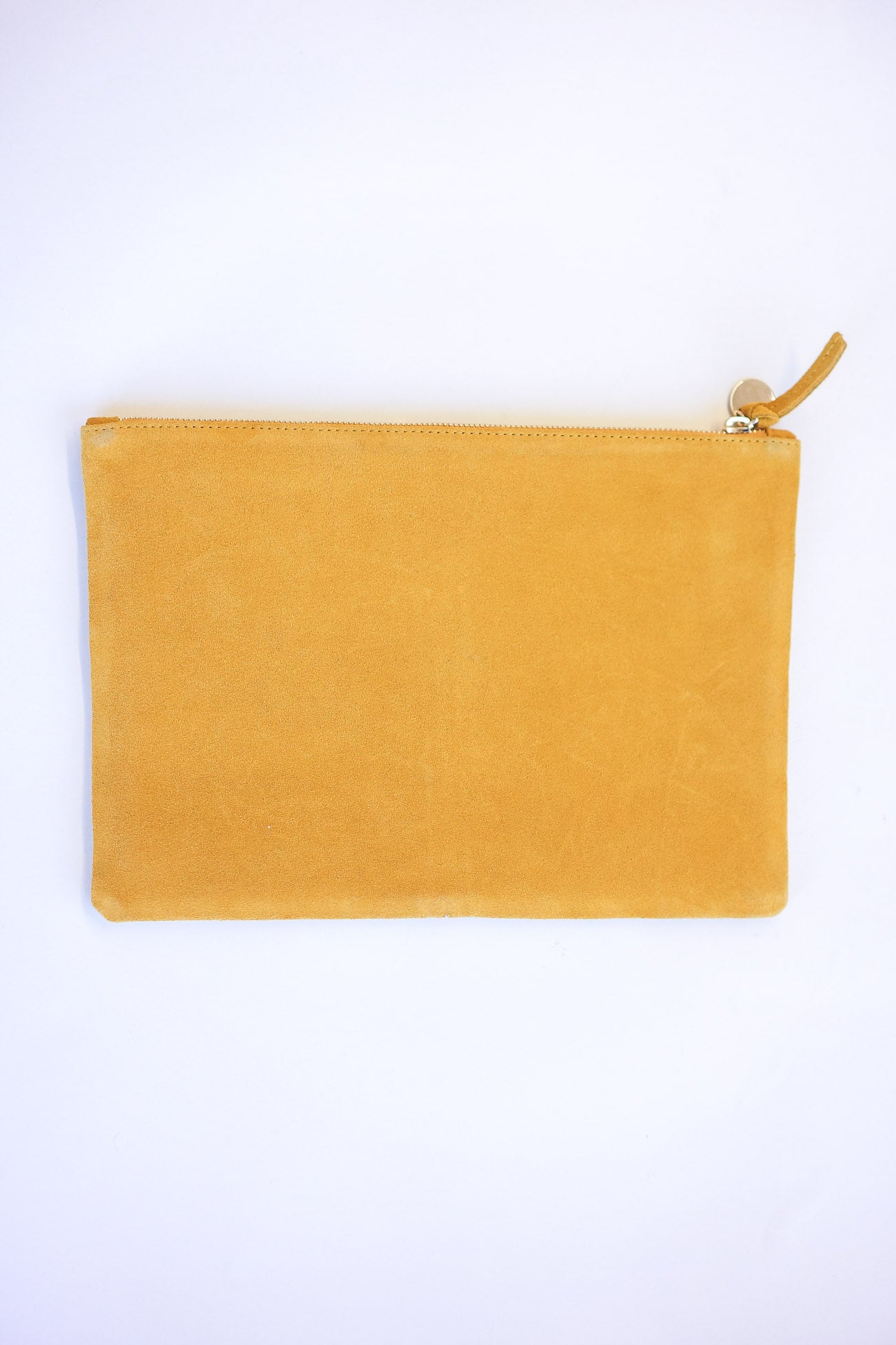 Clare Vivier Flat Clutch Marigold Suede With Red, Camellia, and Ortensia Stripe