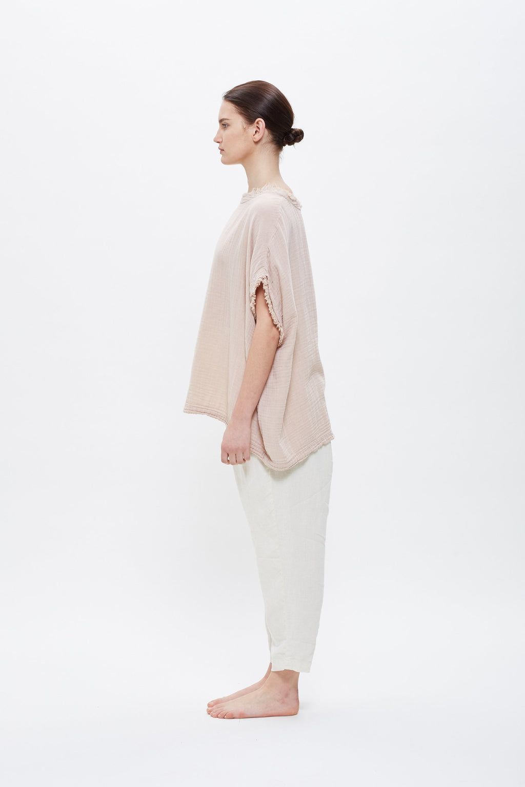 Black Crane Double Gauze Top in Peach