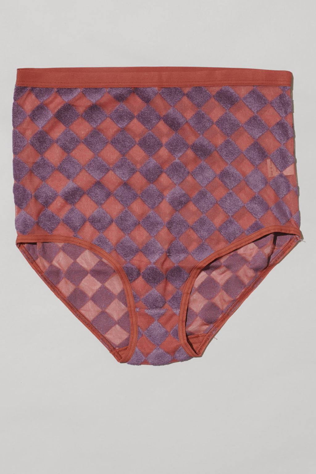 Baserange Highwaist Bell Pants in Checked Purple/Rose