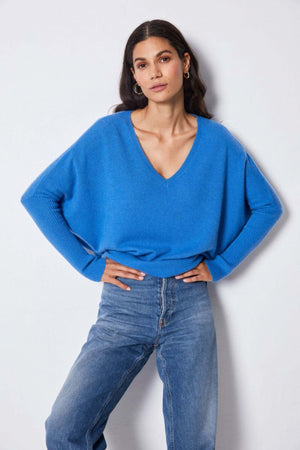 Not Shy Faustine Cashmere V-Neck Poncho Sweater in Klein Blue