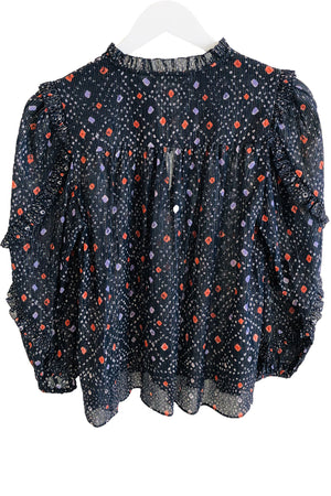 Ulla Johnson Manet Blouse in Navy