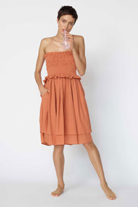 Loup Charmant Corolla Halter Dress in Terracotta