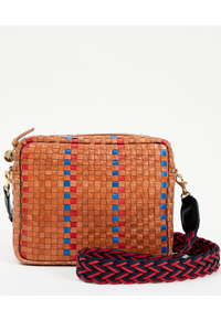 Clare Vivier Marisol in Natural with Navy and Poppy Striped Woven Checker