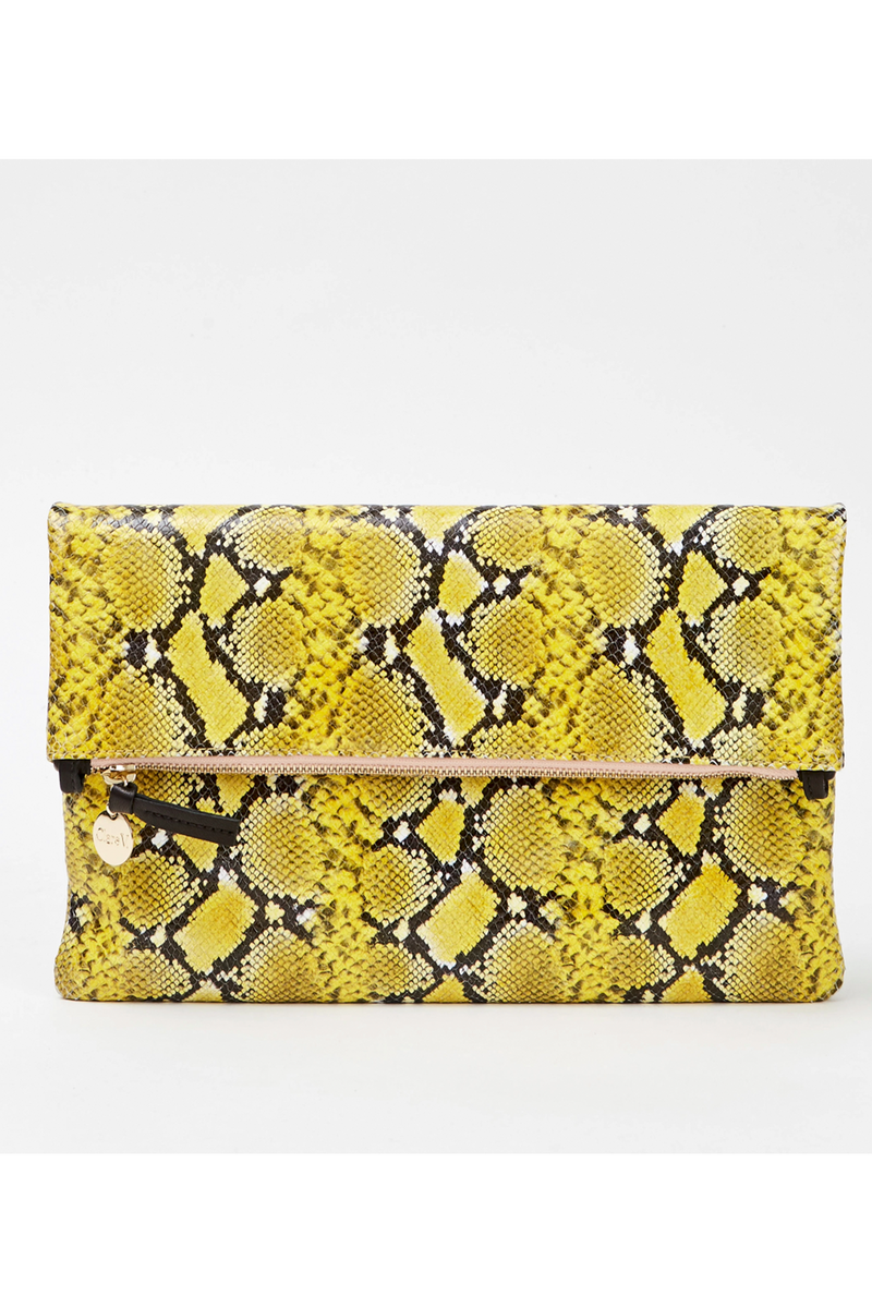 Clare V Yellow Mini Snake Foldover Clutch