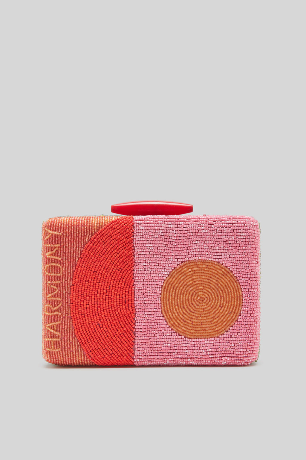 Maliparmi Handbeaded Harmony Clutch in Pink and Red