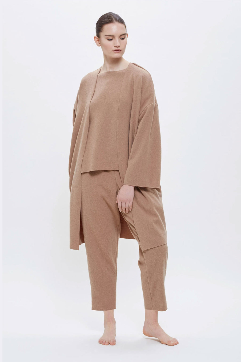 Black Crane No Collar Jacket In Camel
