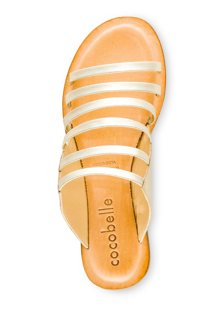 Cocobelle Dahlia Leather In Platino Sandal