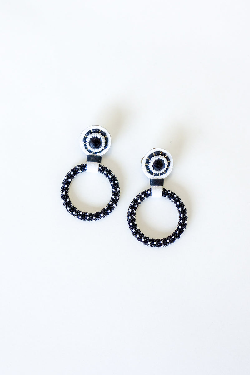 Robin Mollicone Beaded Black Onyz Hoop Earrings