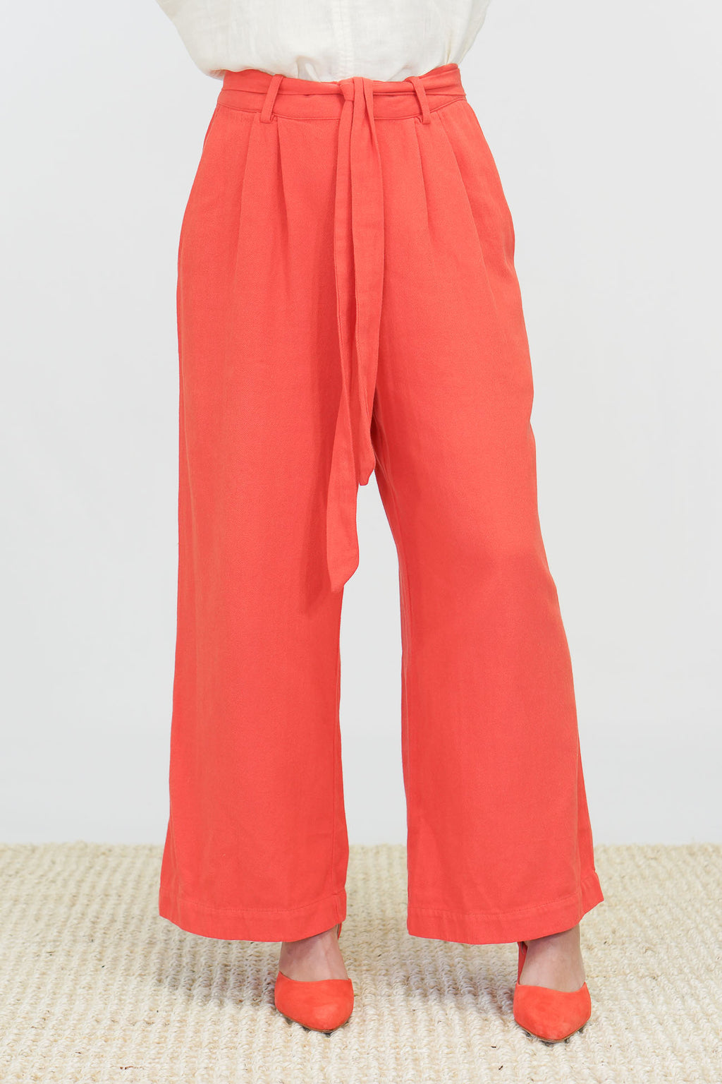 Trovata Tina Wide Leg Linen Pants in Poppy