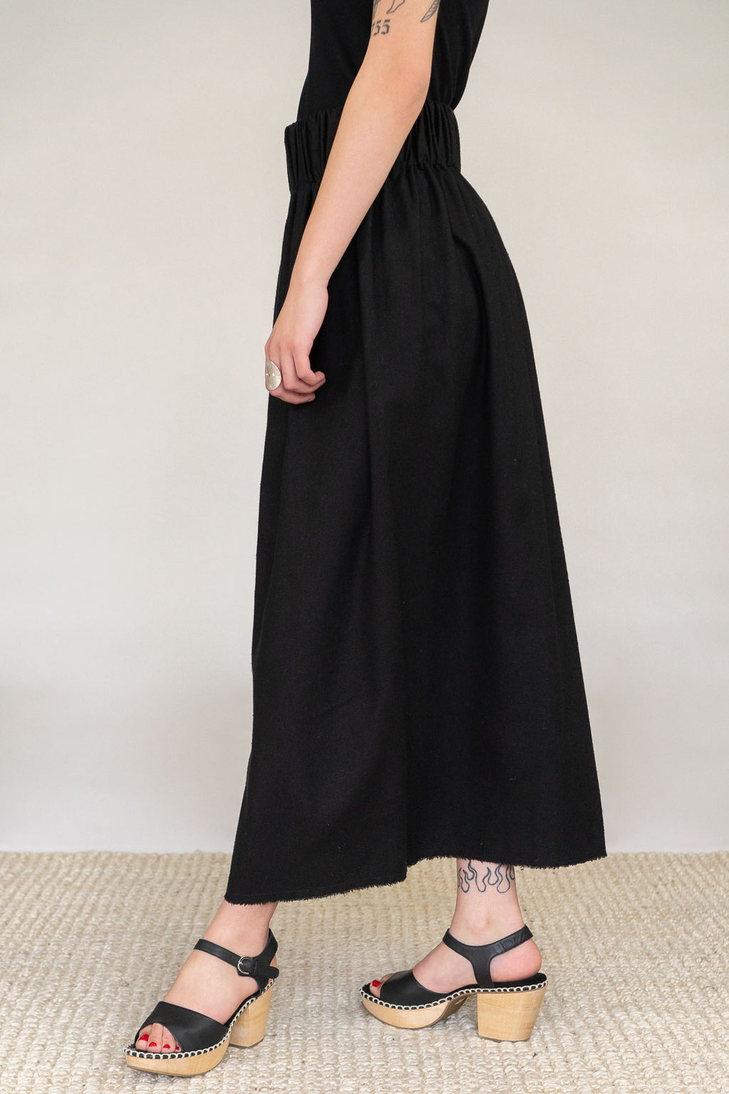 Miranda Bennett Paper Bag Skirt in Black Silk Noil