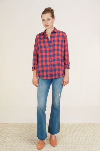 "Frank and Eileen ""Eileen"" Button Down Large Red and Navy Checks"