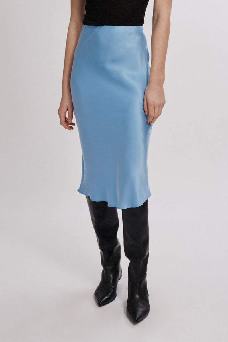 Silk Laundry Bias Cut Skirt in Airy Blue