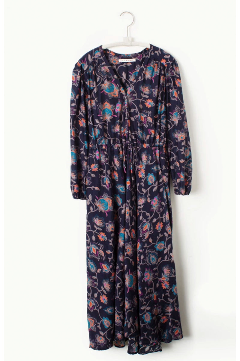 Xirena Phoebe Silk & Cotton Dress in Dark Ink