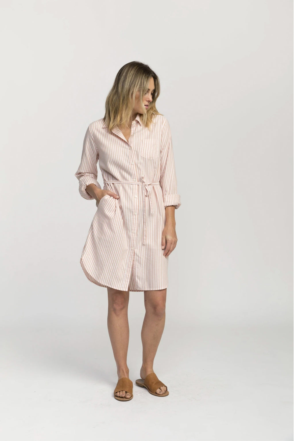 Trovata Rowene Classic Short Shirtdress in Blush Stripe