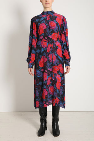 Apiece Apart Matens Midi Silk Floral Magenta Blue Dress
