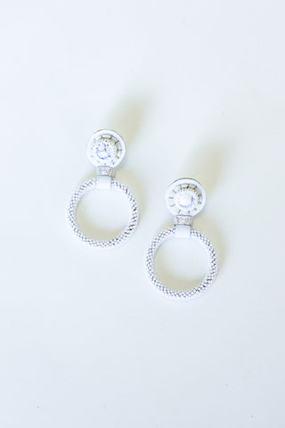 Robin Mollicone Beaded White Jade Hoop Earrings