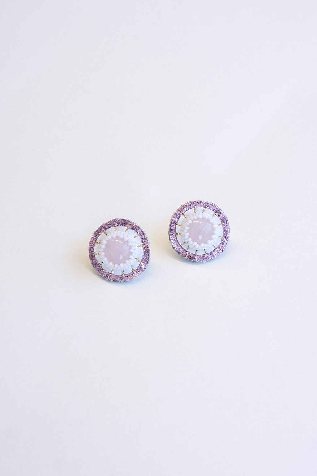 Robin Mollicone Circle Rose Quartz Earrings with Leather