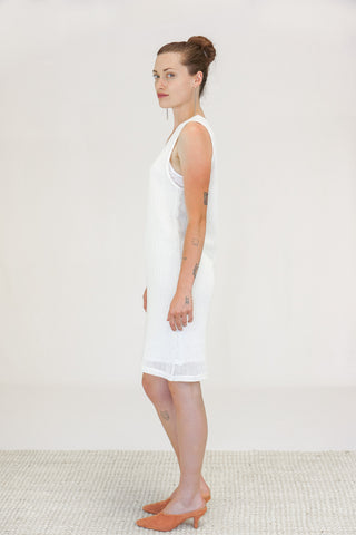 OAK New York City Mesh Tank Dress in Bone