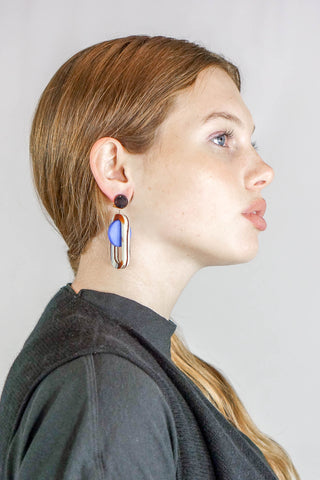 Rachel Comey Lohr Dangle Earrings in Striped Shell-Blue