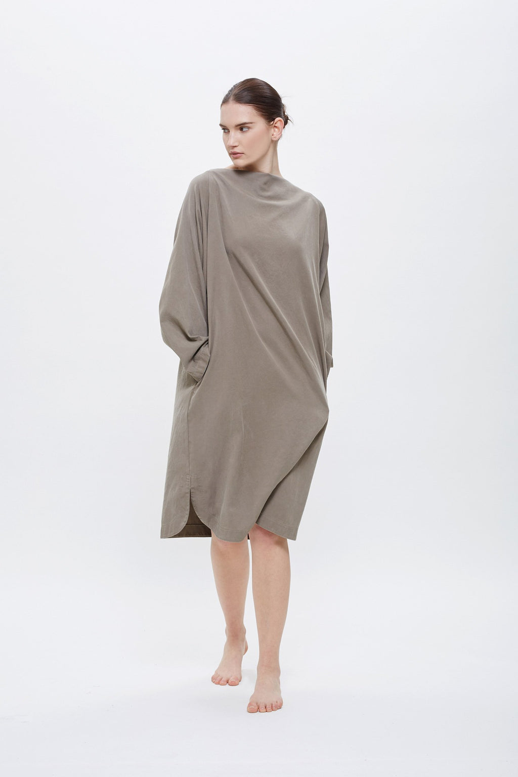 Black Crane Folded Neck Dress in Ash