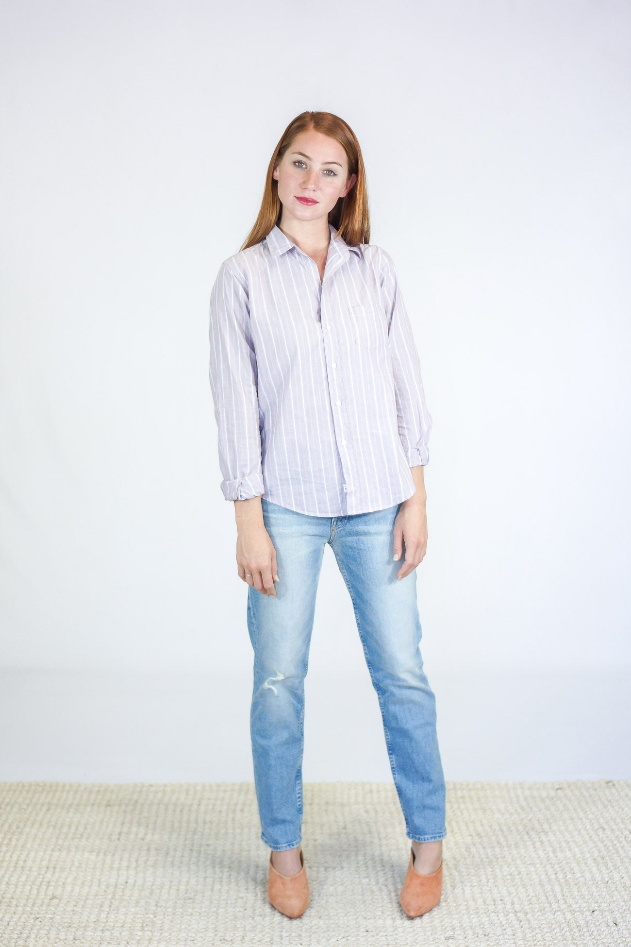 "Frank and Eileen ""Barry"" Washed Red Multi-Stripe Button Down"