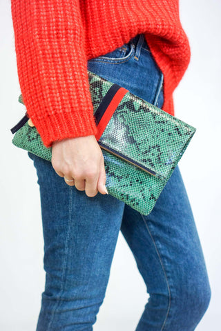 Clare Vivier Green Snake Foldover Clutch with Navy/Red Stripe