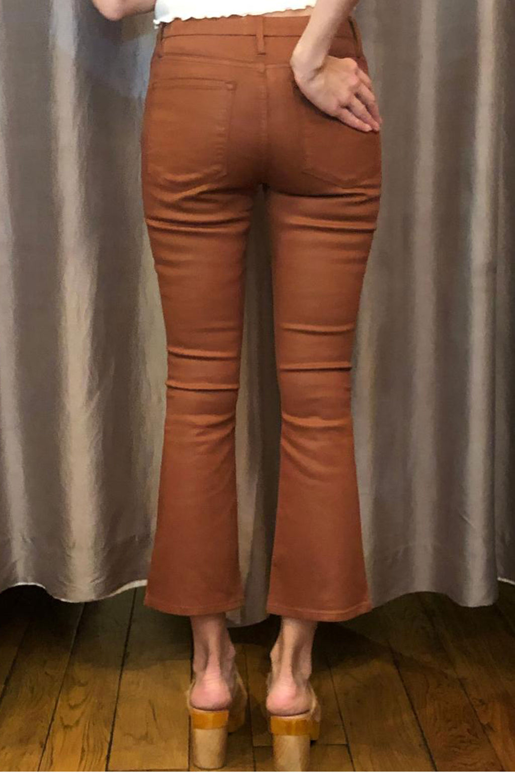 Frame Jeans Le Cropped Mini Boot Coated in Caramel Coated