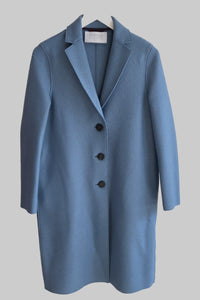 Harris Wharf Pressed Wool Overcoat in Dusty Blue