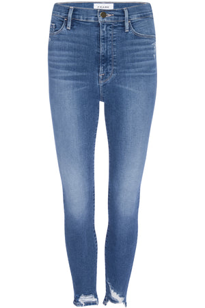 Frame Ali High Rise Cigarette Jeans With Chewed Hem in Madera Rips